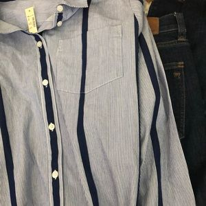 NWT Madewell blue stripped boyfriend shirt
